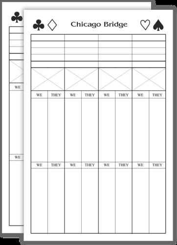Chicago Style Bridge Score Pads